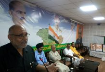 BJP national vice president Avinash Rai Khanna addressing a party function at Jammu on Saturday.