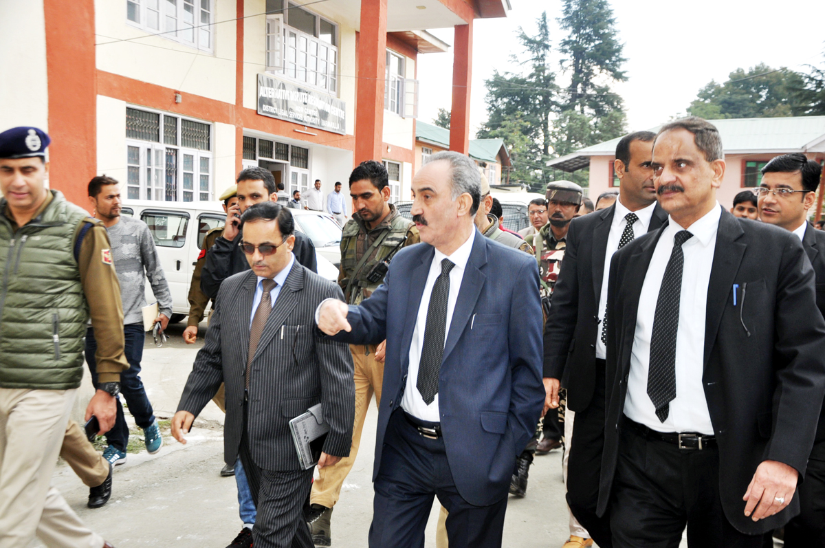 Justice Ali Mohammad Magray during visit to District Court Complex in Baramulla on Saturday.