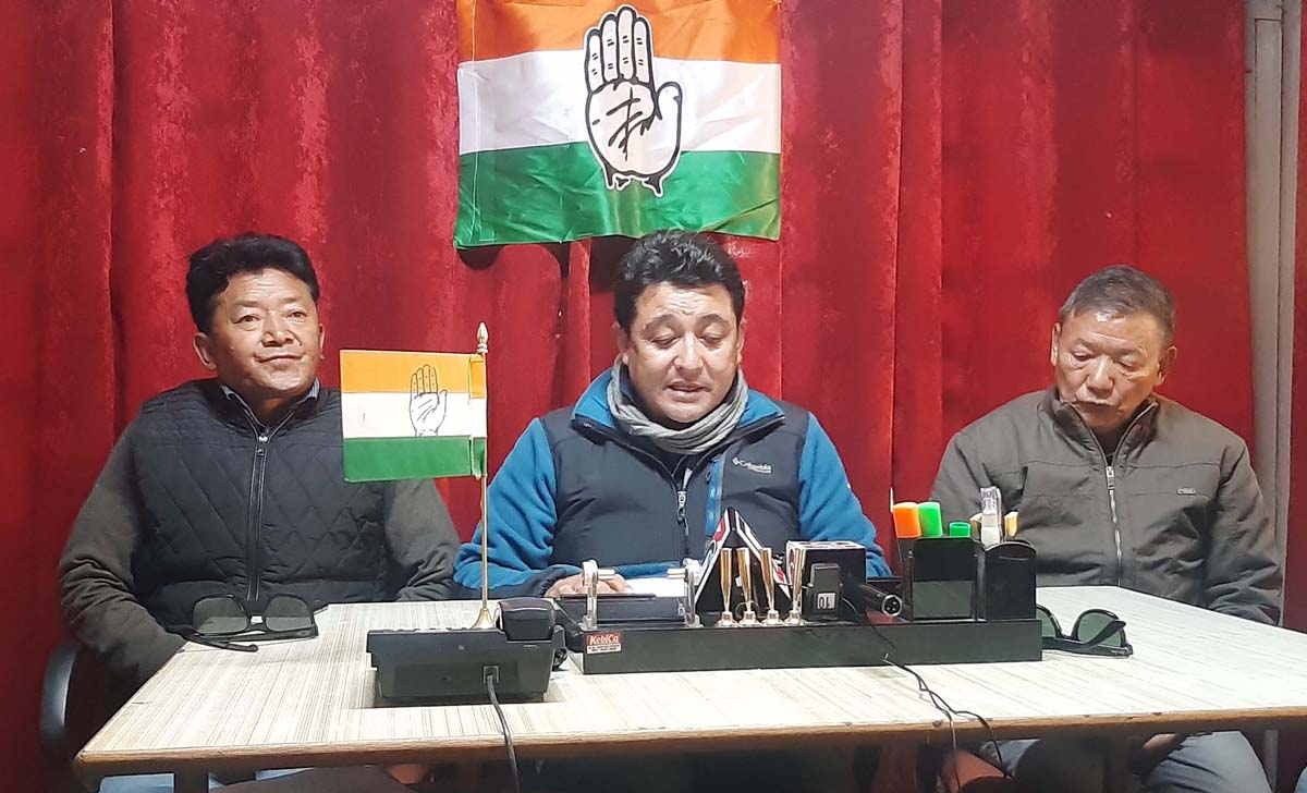 DCC president Tsering Namgyal addressing a press conference on Sunday. —Excelsior/Morup Stanzin