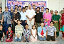BLSKS artists after performing in Dogri Musical Play 'Nashe Kola Bacho' at Jammu on Saturday.
