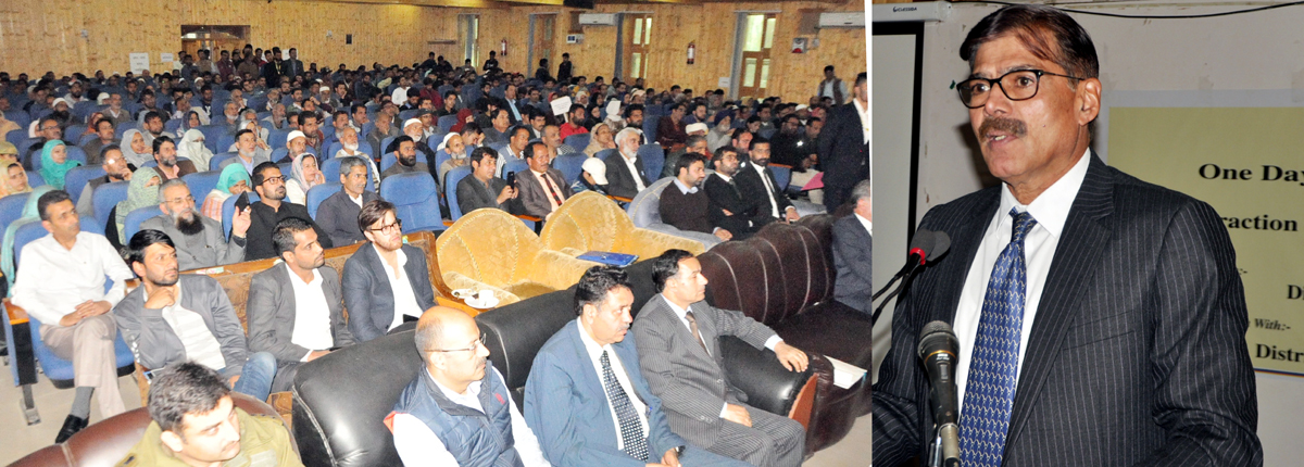 Advisor Vijay Kumar speaking at one day orientation programme at Baramulla on Saturday.