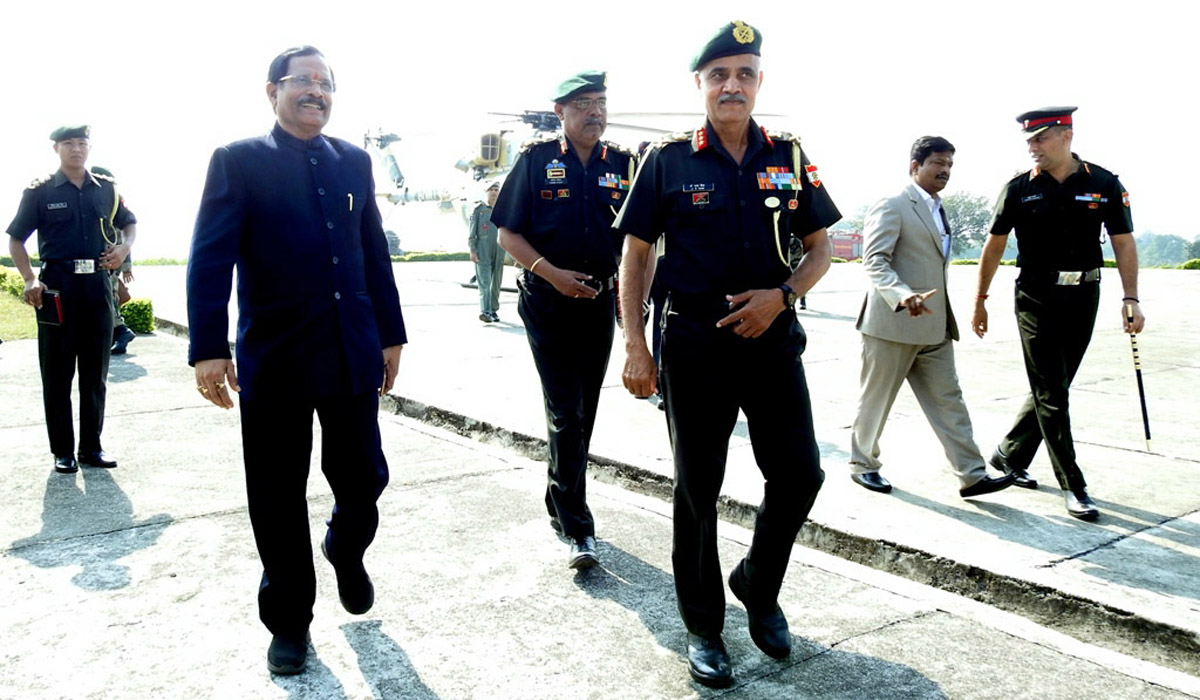 Minister of State for Defence Shripad Naik at 401 Cantonment on Saturday.