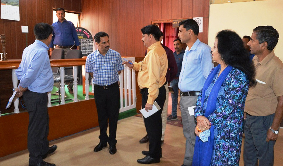 Deputy Commissioner Kathua, Om Parkash Bhagat during inspection of Government office on Saturday.