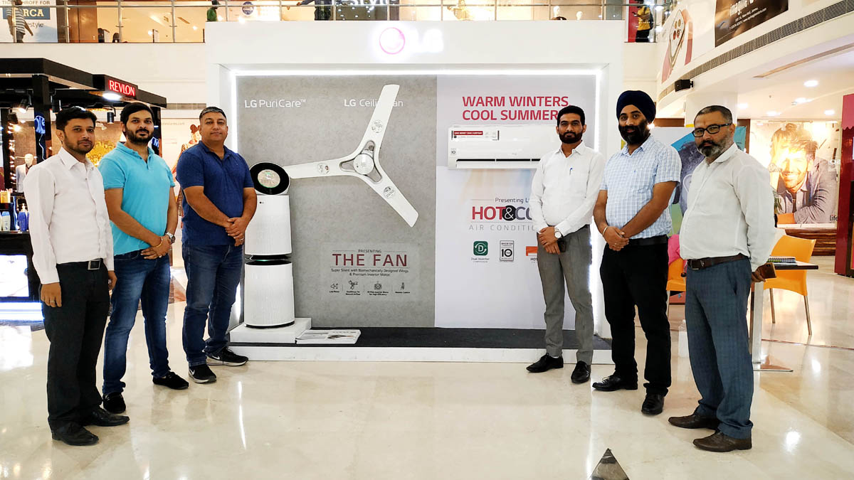 Officials of LG Electronics displaying products at Wave Mall Jammu.