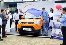Dignitaries launching Arena-S Presso car at Peaks Auto Thanda Pani Sunderbani in district Rajouri.