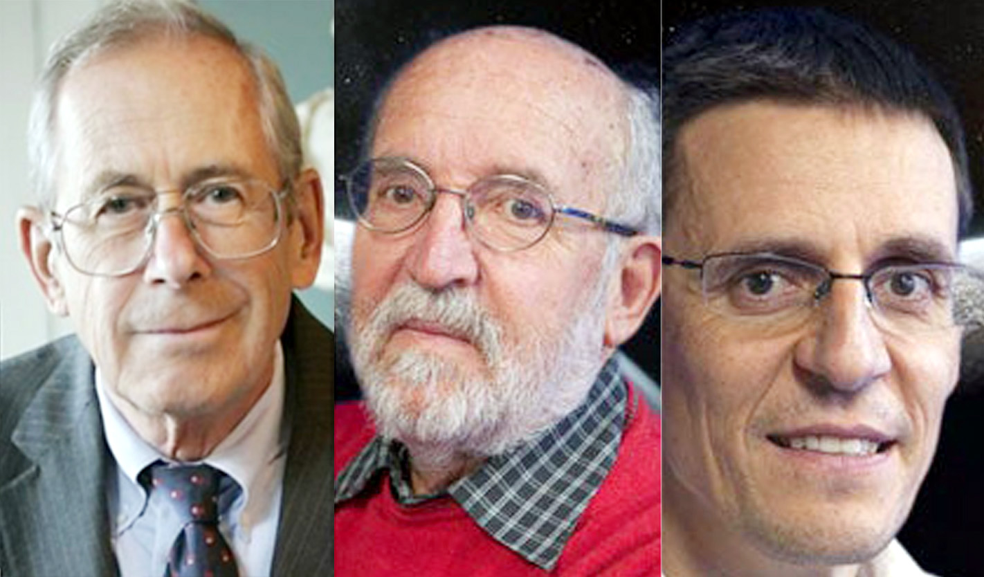 (From left) Canadian-American James Peebles, Swiss scientists Michel Mayor and Didier Queloz who have been declared winners of the Nobel Physics Prize for their work in cosmology.