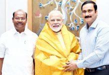 PMK Founder President S Ramadoss and his son and Rajya Sabha Member Anbumani Ramadoss calling on Prime Minister Narendra Modi, in New Delhi on Thursday. (UNI)