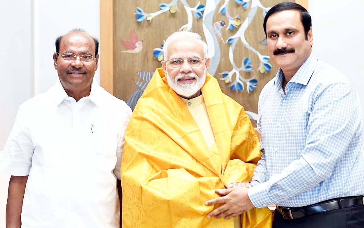 PMK Founder President S Ramadoss and his son and Rajya Sabha Member Anbumani Ramadoss calling on Prime Minister Narendra Modi, in New Delhi on Thursday. (UNI)