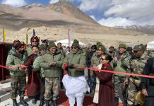 Defence Minister Rajnath Singh inaugurating Col Chewang Rinchen bridge in Eastern Ladakh on Monday.