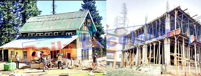 Khilan hut before (left) and after re-construction (right). -Excelsior/Aabid Nabi