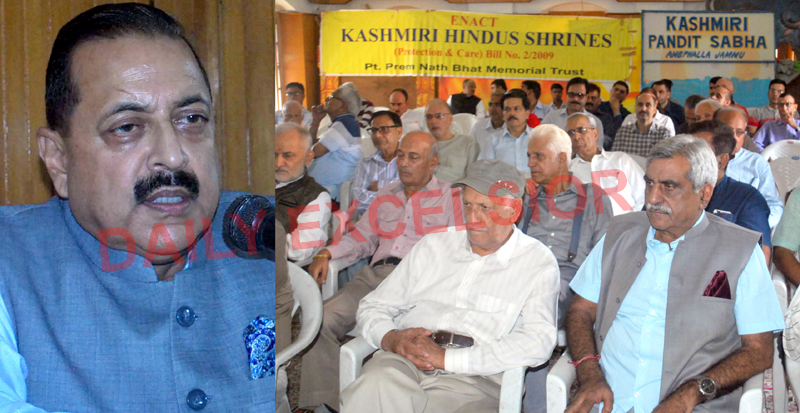 Union MoS Dr Jitendra Singh addressing the gathering at KP Sabha in Jammu on Wednesday. —Excelsior/Rakesh
