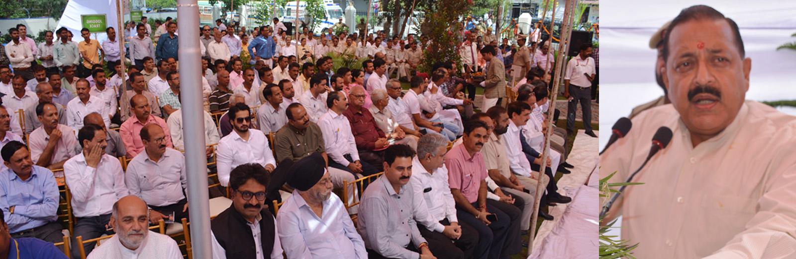 Union Minister Dr Jitendra Singh addressing a public gathering at Kathua on Monday.