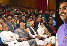 BJP national general secretary Ram Madhav addressing party workers at Tagore Hall in Srinagar on Sunday. (UNI)