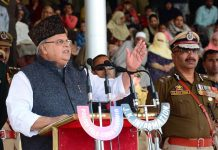 Governor Satya Pal Malik addressing 'Police Commemoration Day' in Srinagar on Monday.
