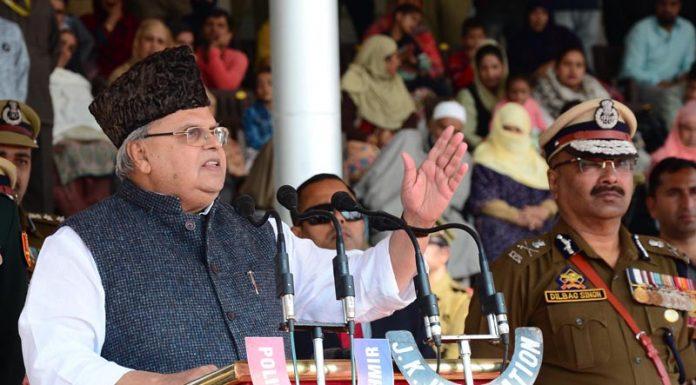 Governor Satya Pal Malik addressing 'Police Commemoration Day' in Srinagar on Monday.