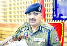DGP Dilbag Singh addressing a press conference in Srinagar on Wednesday. -Excelsior/Shakeel