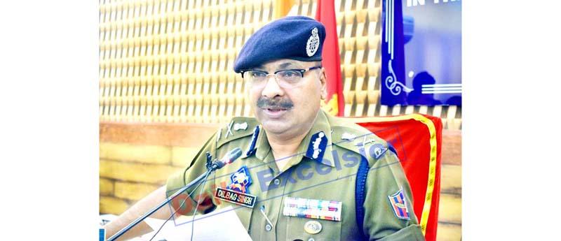DGP Dilbag Singh addressing a press conference in Srinagar on Wednesday. -Excelsior/Shakeel