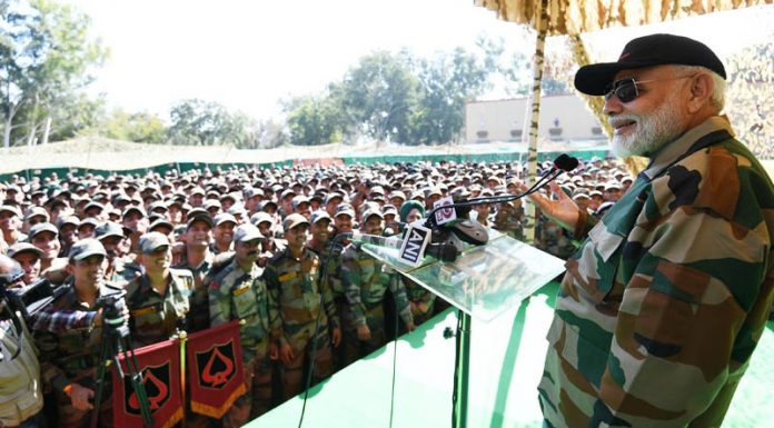 Prime Minister Narendra Modi addressing troops in Rajouri on Sunday.