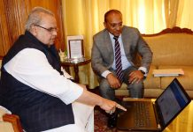Governor Satya Pal Malik launching ACB website in Srinagar on Friday.