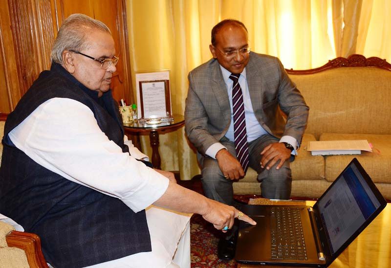 Governor Satya Pal Malik launching ACB website in Srinagar on Friday.