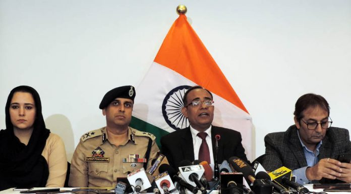 Government spokesman Rohit Kansal along with Divisional Commissioner Baseer Khan, IGP Kashmir S P Pani and Director Information Syed Sehrish Asgar addressing a press conference in Srinagar on Saturday. -Excelsior/Shakeel