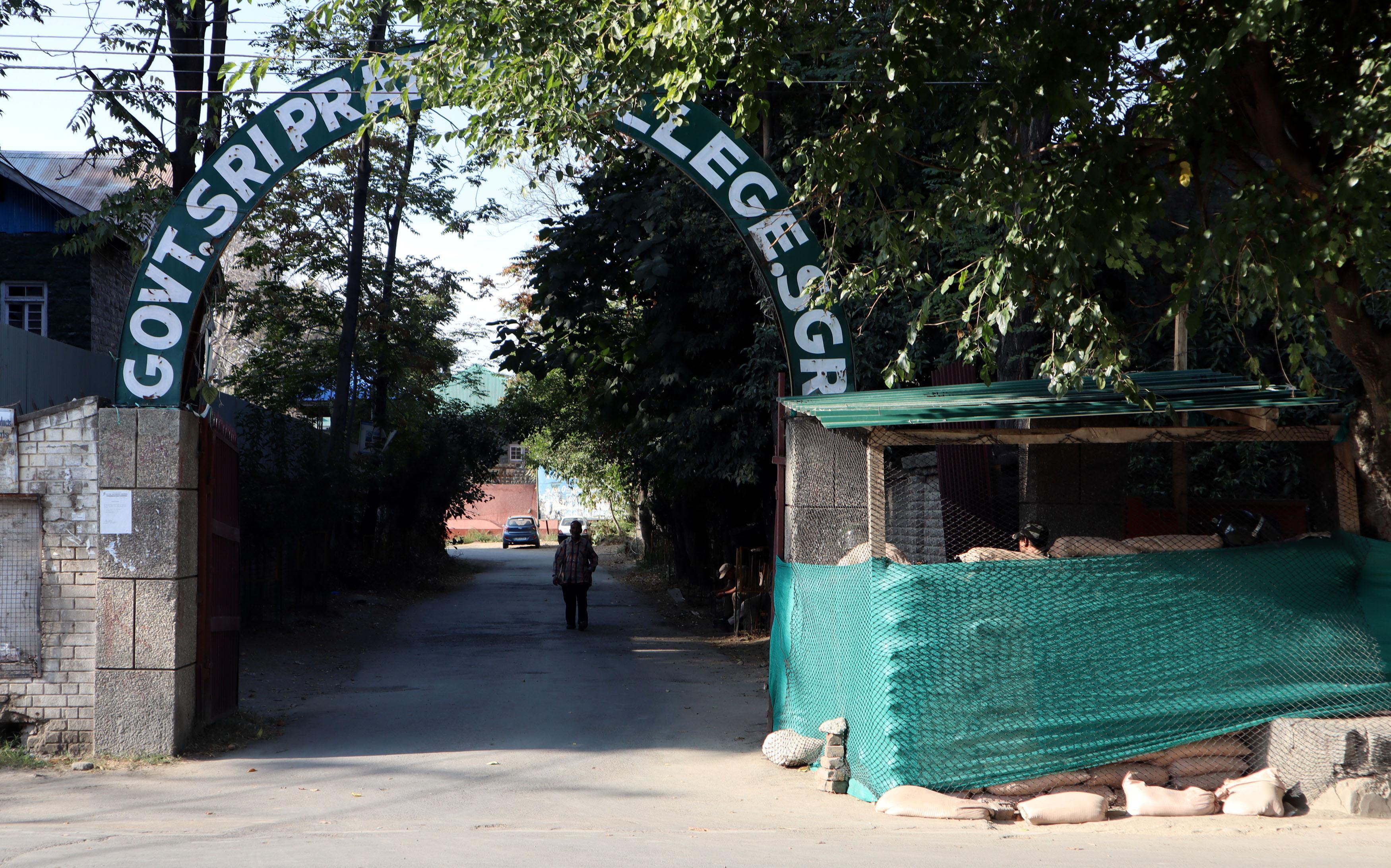 New bunker set up outside SP Collge in Srinagar city.