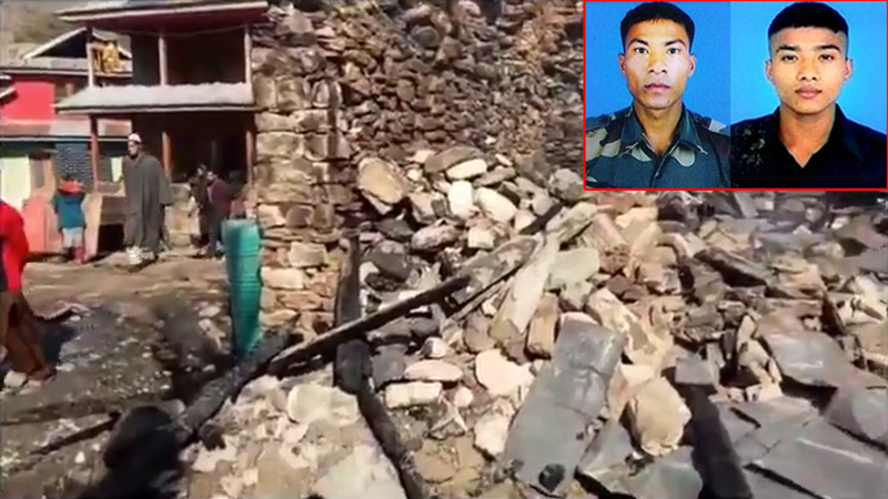 Destruction caused in civilian areas of Tanghdar in Kupwara district in Pakistan shelling. (Insert) two martyrs of Army.