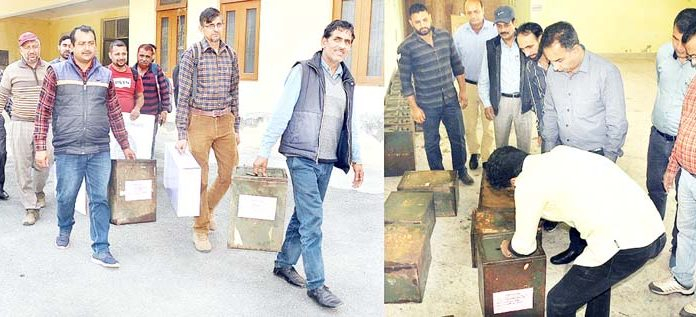 Polling parties leave for booths in Ramban district for BDC elections on Wednesday.