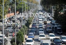 A view of traffic jam in city centre of Lal Chowk in Srinagar on Tuesday. -Excelsior photo