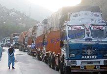 Trucks stranded near Ramban after landslides on Thursday evening. -Excelsior/Parvaiz Mir