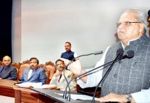 Governor Satya Pal Malik addressing Presidents/Vice Presidents of ULBs in Srinagar on Wednesday.