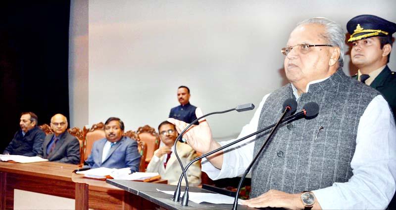 Governor Satya Pal Malik addressing Presidents/Vice Presidents of ULBs in Srinagar on Wednesday.