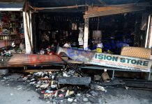 Shops damaged in fire at Maharaj Gunj area in Srinagar on Friday. —Excelsior/Shakeel