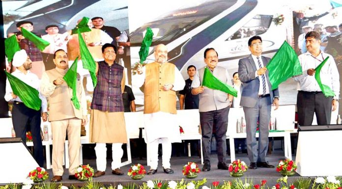 Union Home Minister Amit Shah flagging off the New Delhi-Katra Vande Bharat Express, in New Delhi on Thursday.