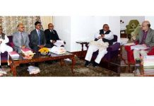 Governor Satya Pal Malik chairing the SAC meeting in Srinagar on Wednesday.