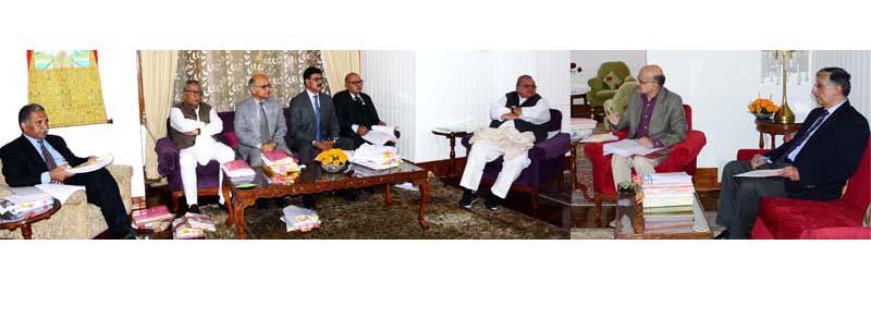 Governor Satya Pal Malik chairing the SAC meeting in Srinagar on Wednesday.