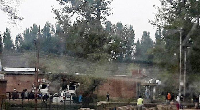 Trucks damaged by miscreants in Kulgam.