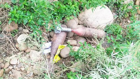 Mortar shells found near Ghagwal in Samba district on Monday. —Excelsior/Gautam