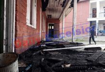 Govt Middle School set ablaze at Watoo, Kulgam. -Excelsior/Sajad Dar