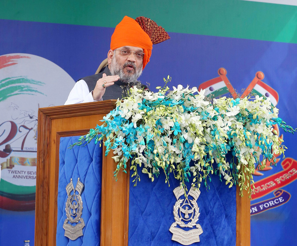 Union Home Minister Amit Shah addressing the 27th 'Foundation Day Event' of the Rapid Action Force of the CRPF in Ahmedabad on Monday.