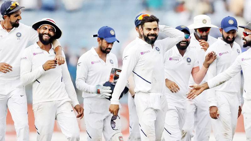 Indians players celebrating victory against South Affrica in the 2nd test at Pune on Sunday.