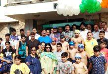Participants of Sports Tournament organised by Jammu Club posing for a group photograph in Jammu on Sunday.