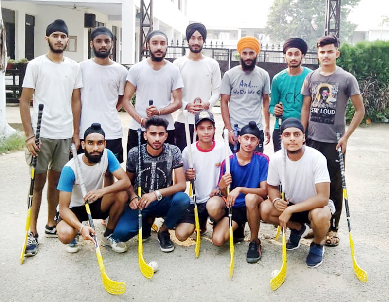State Floorball team posing for a group photograph in Jammu before leaving for Gwalior.