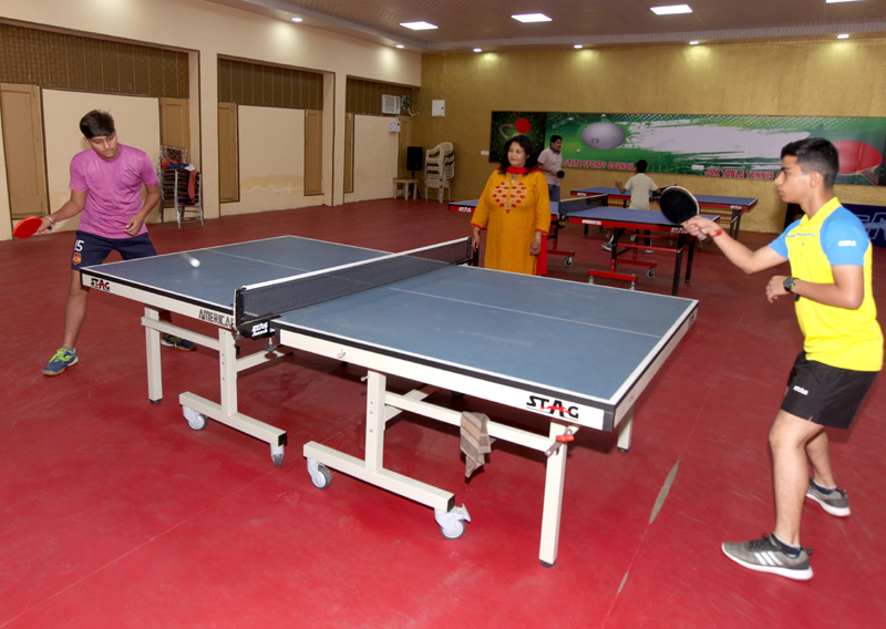 Players in action during 4th Stag J&K TT Championship in Jammu on Monday. -Excelsior/Rakesh