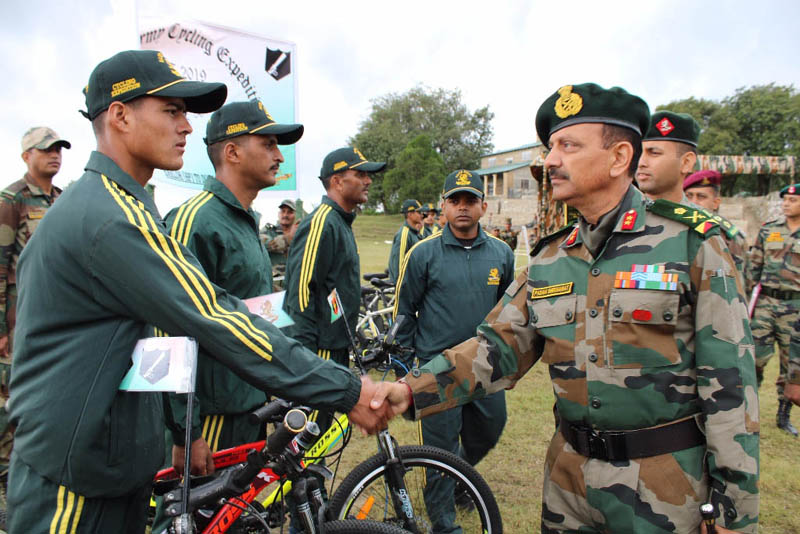 Army officers interacting with cyclists while flagging Expedition on Wednesday.