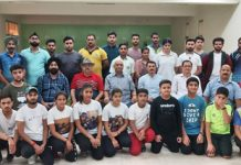 State Shooters posing for a photograph along with dignitaries before leaving for North Zone Championship.