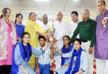 Winners of 18th Sanskriti Mahtosav and Ganit-Vigyan Mela posing for group photograph in Jammu.