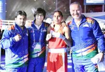 India's Ace Boxer Manju Rani posing alongwith support staff at Ulan-Ude in Russia.