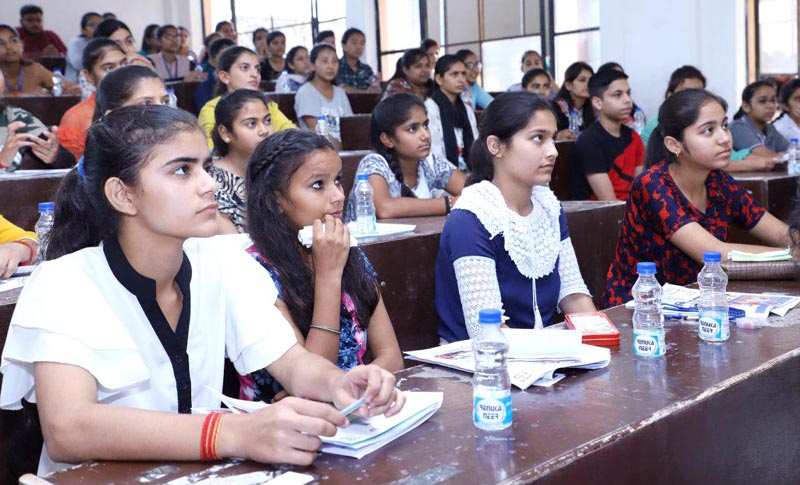 Participants during Super Student Contest 2019 organised by Race Narayana Academy in Jammu.