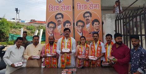 Shiv Sena Bala Saheb Thackeray members launching 'Saheb Khana' for poor people at Jammu on Sunday.